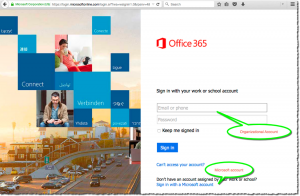 Figure 3: Login options for the Office 365 portal (portal.office.com)