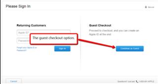 eCommerce site guest checkout option