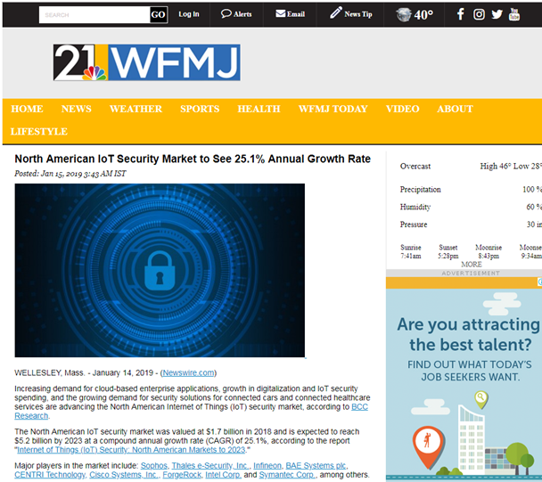 Source Http Www Wfmj Story 39788098 North American Iot Security Market To See 251 Annual Growth Rate